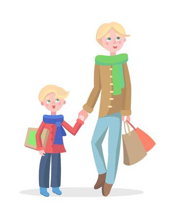 Familieneinkaufskarikaturkonzept lokalisiert auf weißem Hintergrund. Junger blonder Mann macht Einkäufe mit Kind flache Vektorillustration. Vater kauft Geschenke auf Winterferienverkauf mit kleinem Sohn