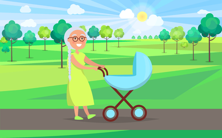 Senior lady with blue trolley pram walking in city park taking care about newborn boy on background of green trees in park vector illustration