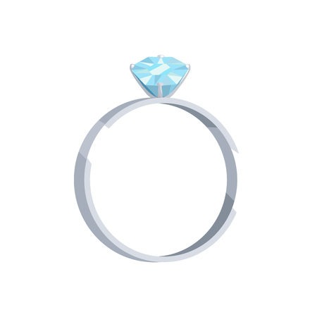 Silver or platinum ring with blue diamond icon. Wedding ring with precious gemstome flat vector illustration isolated on white background