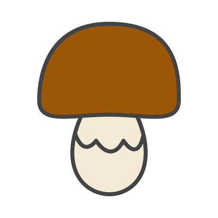Mushroom with brown cap flat style vector icon isolated on white background. Delicious culinary ingredient. Penny bun mushroom cartoon illustration for applications, logos or web design Illustration
