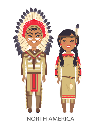 North america traditional costumes in which man and woman are dressed, title of image placed below on vector illustration isolated on white