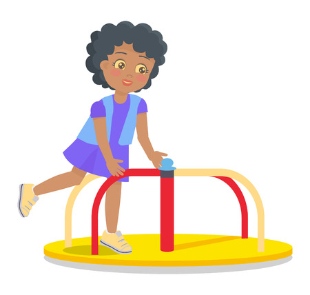 Girl rotate on carousel, colorful vector illustration of swinging merry-go-round carousel for children on playground isolated on white background. Illustration