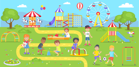 Happy kids spend time on childrens playground in city park. Vector illustration of adorable kindergarten characters walking outdoors in amusement center