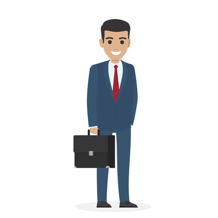 Smiling handsome manager or administering in blue business suit keeps black suitcase isolated on white vector illustration.