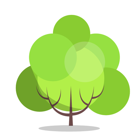 Small green tree isolated on white closeup vector illustration in flat design. Long-lived plant with hard stem and many leaves for making air clean Illustration