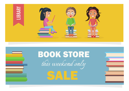 Bookstore this weekend only sale voucher with heaps of literature and kids library with reading children vector illustration.