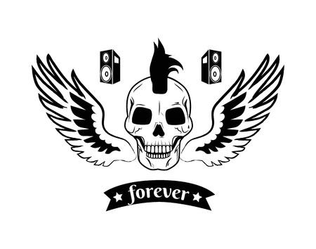 Forever on Ribbon and Skull Vector Illustration
