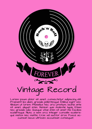 Rock and roll forever vintage record colorful poster with vinyl disc with skull and wings on it. Vector illustration of old vinyl record on pink background Illustration