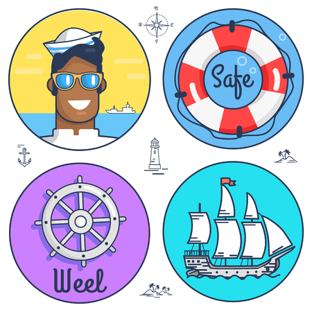 Set of Circle Marine Icons and Other Objects