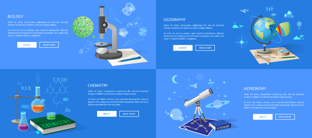Natural sciences course promotional posters set. Biology classes, geography lectures, chemistry lessons and astronomy course vector illustrations.