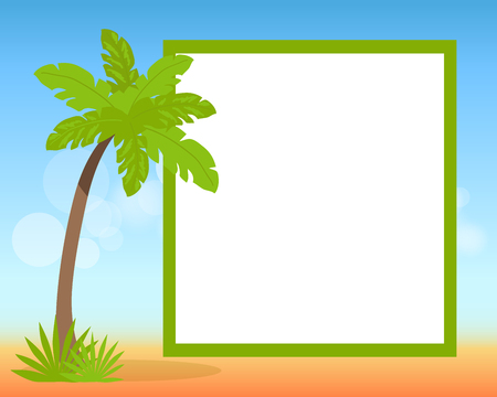 Hello summer 2017 poster with place for text in photo frame on background of blue sky with clouds and green palm vector illustration Illustration