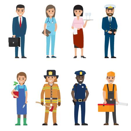 Profesiones personas vector conjunto de iconos. Personajes de dibujos animados de mujer y hombre de profesión diferente en uniforme y con implementos aislados en blanco. Ilustración plana de ocupaciones para el día del trabajo, conceptos de trabajo