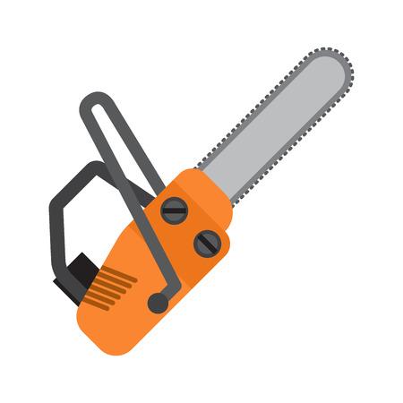 Icono de vector plano de motosierra naranja aislado sobre fondo blanco. Herramienta de mano con motor para corte de madera y materiales de construcción. Ilustración de instrumentos industriales