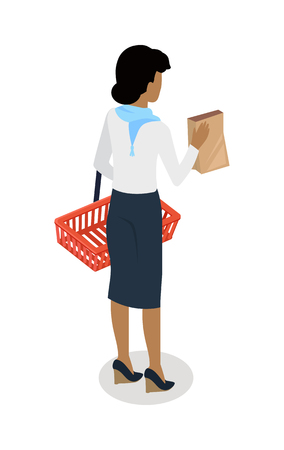 Woman with empty shopping basket and paper bag standing backwards isometric vector. Shopping daily products concept isolated on white. Female character template make purchases in grocery store icon Ilustração Vetorial