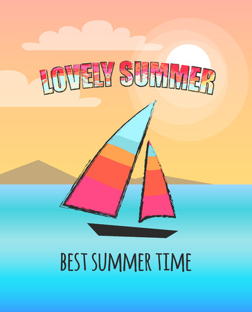 Lovely summer poster with print. Vector illustration of boat with colourful sails at sea against backdrop of light pink sky and mountains