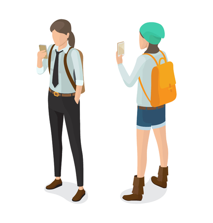High school pupil in black trousers, in shirt and tie with rucksack watching on smartphone vector. Student or college girl cartoon character isolated