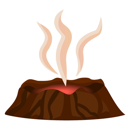 Volcano stopped eruption of lava, smoke over top of crater isolated on white background. Mountain with crater and red center with hot thermal disaster, vector illustration in flat design cartoon style Illusztráció