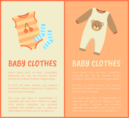 Baby Clothes, striped suit and socks, color card with baby suits, cute printed bear and cherry, apparel isolated on bright backdrops, text sample