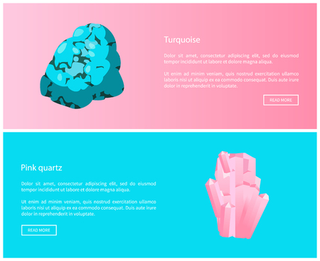 Turquoise and pink quartz minerals composed of silicon and oxygen atoms, semi-precious gemstones, expensive minerals vector web online posters set