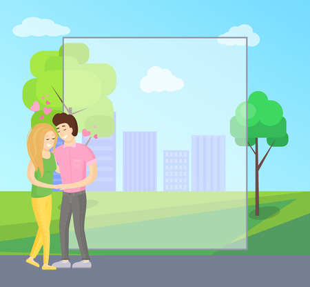 Filling form for greetings, boy and girl tenderly hugging, young lovers embracing, happy couple vector on background of skyscrapers in park green trees