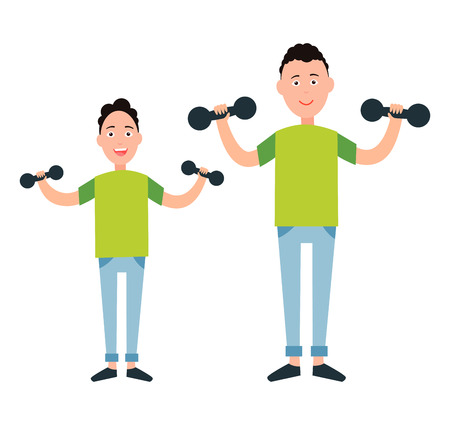 Father and son train with dumbbells vector illustration isolated on white. Dad and boy go in for sport together, sportive family, fatherhood concept Stock Illustratie