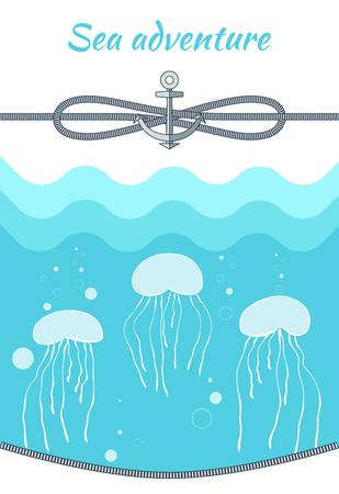 Sea Adventure Blue Poster Vector Illustration