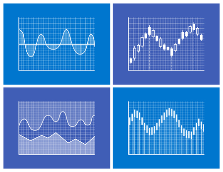 Charts collection poster with set of graphics and frames, curved lines and given information and data, vector illustration isolated on blue background 写真素材 - 105603015