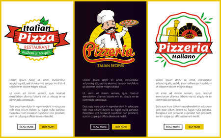 Italian Pizza Web Pages Set Vector Illustration