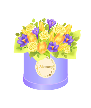Flower bouquet composed by gentle spring flowers roses, crocuses, tulips packed in round box, present on 8 March birthday Valentines day vector isolated