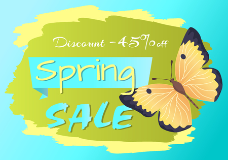 Spring sale poster discount -45 colorful butterfly of yellow and black color, advertisement card design with cute flying insect vector illustration sticker