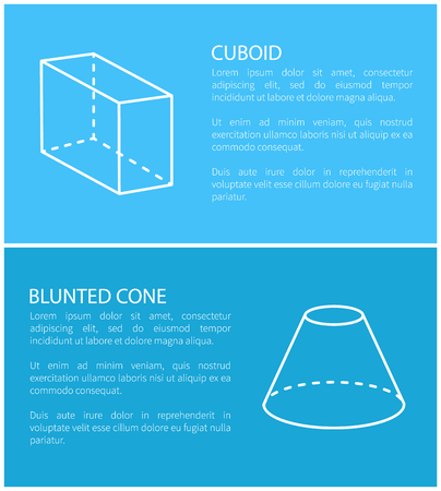 Cuboid and blunted cone set of posters with informational text and headline, cuboid and cone collection, banner vector illustration isolated on blue