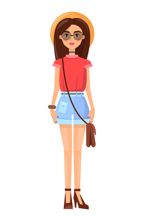 Woman wearing hat, cute summer mode poster, banner with woman, dressed in stylish clothing, accessories and clothes, isolated on vector illustration