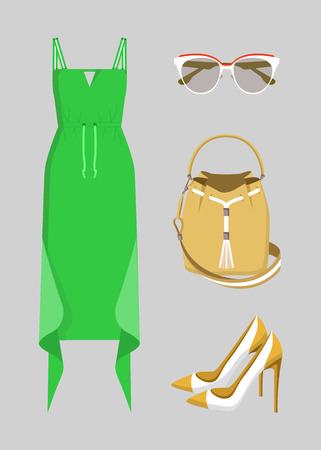 Beautiful green dress with various accessories, vector illustration with cute sunglasses, yellow bag with rope, pair of pretty shoes with high heels