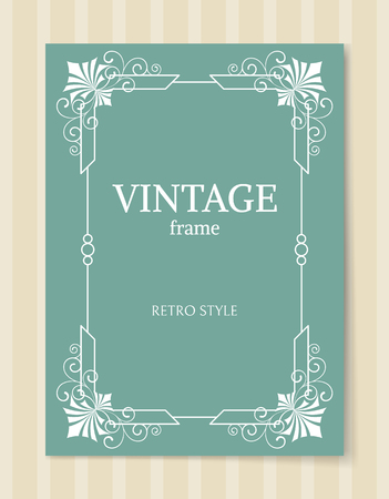 Vintage frame retro style white border isolated on blue background. Decorative frame abstract ornamental elements in corners vector illustration