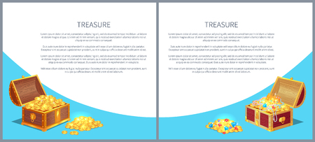 Treasure posters set precious treasures in heavy chest. Medieval money hidden in containers vector. Shiny gold ancient coins in old open wooden chests.