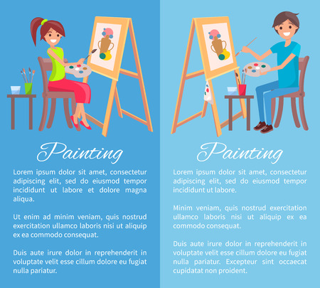 Painting process banner, color vector illustration isolated on bright blue backdrops, cheerful man and woman drawing abstract vase, painting canvas Vectores