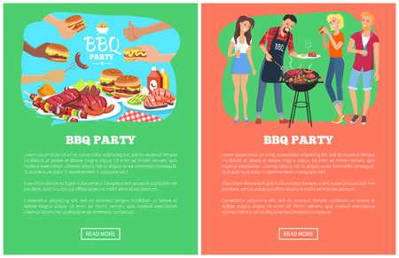 BBQ party collection of web pages with text sample and headlines, people and bbq party, plates full of food and sauces isolated on vector illustration