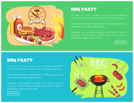 BBQ party collection of websites with sauce and sausage, grilled meat, text sample and bbq party information vector illustration isolated on green