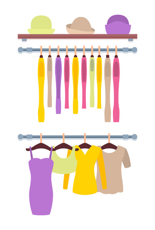 Clothes Hanging on Hangers in Women Clothing Store