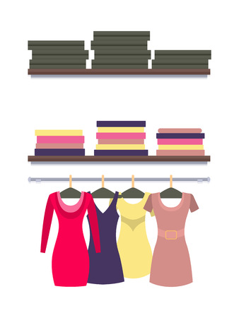 Racks with clothes packed in boxes, vector of dresses isolated on white, modern garment for females. Women s clothing store shop window, clothes gowns