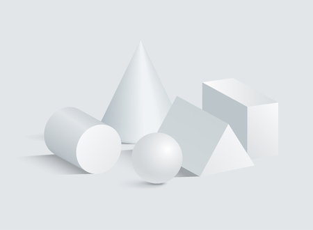 Cone cylinder sphere cuboid and triangular prism 3D geometric white shapes. Three dimensional cuboid and cone triangular prism sphere cylinder vector Illustration