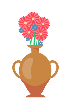 Vase with flowers bouquet, vase of brown color with flowers in blossom, flourishing plants and container with water isolated on vector illustration Ilustração