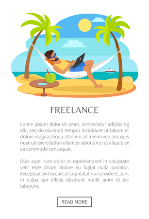 Freelance web poster with text, man lying on hammock with notebook, table with tropical cocktail, freelancer among palm trees, ship on background