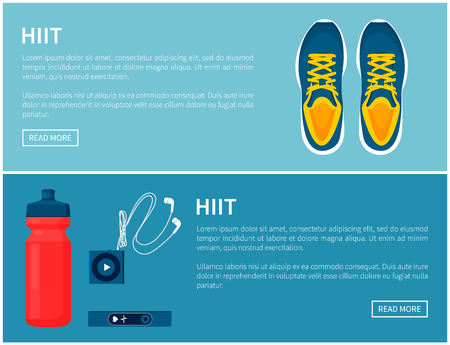 Hiit sportswear, sport shoes and helpful gadgets, blue sneakers and red sport bottle, portable music player and pulse sensor, vector illustration Vectores
