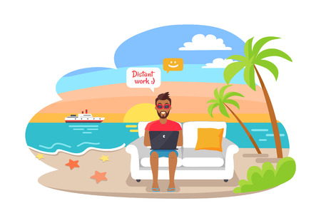 Distant work poster with freelancer working on laptop sitting on cosy sofa, summertime at coastline, advantages of freelance job, palms, sea and ship