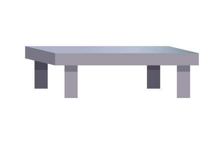 Rectangular coffee table, vector illustration isolated on white background, small grey table on four legs, simple design, comfortable interior object