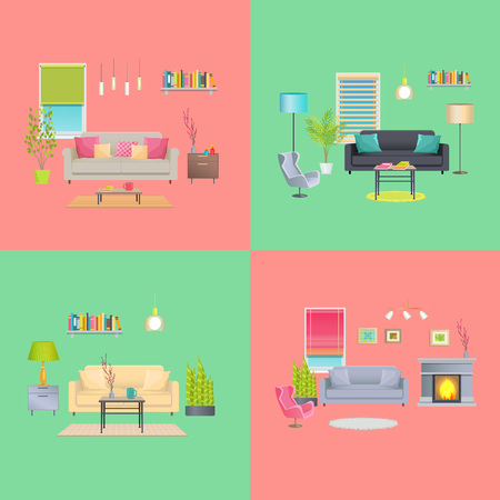 Set of Various Room Interiors Banners, Flat Design