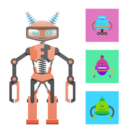 Humanoid robot, construction sample, color banner, vector illustration with varied robots set isolated on white backdrop, cyborg with antennas on head