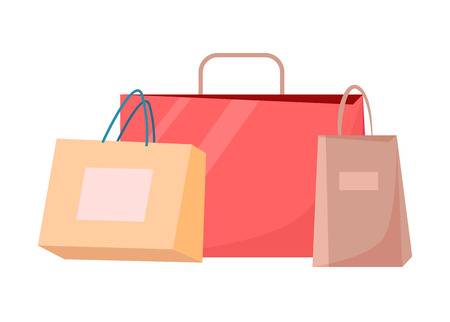 Paper shopping bags vector illustration of disposable packages with handles isolated on white. Packets for parcels, colorful shopping bags vector set