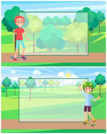 Skater in protective helmet in green park full of trees and bushes near place for text filling form advertisement poster with boy skateboarder vector